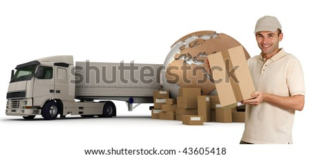 A messenger with a world map, packages and a truck as background - stock photo