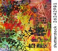 A Messy Graffiti Wall Background - stock photo