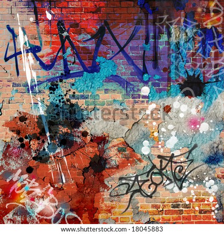 A Messy Graffiti Wall Background - stock photo