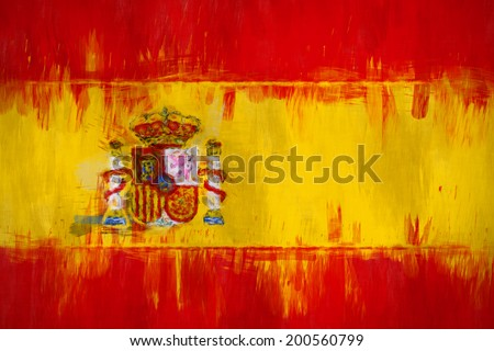 A messy painting of the flag of Spain - stock photo