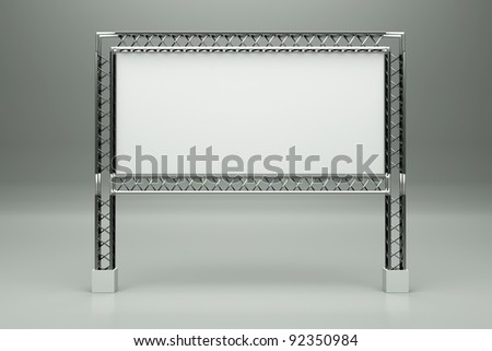 a metal billboard on grey - stock photo