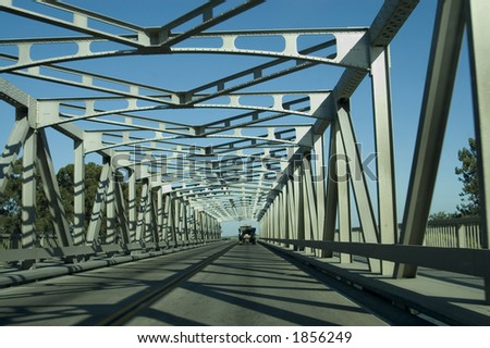 A metal bridge. - stock photo