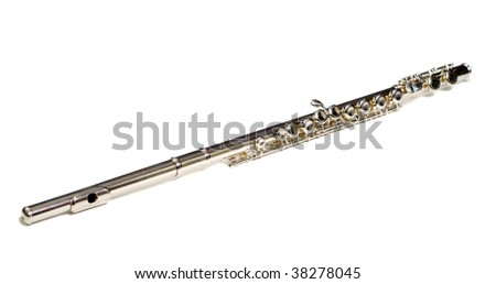 A metal flute commonly used for school, isolated against a white background - stock photo