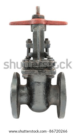 a metal pipeline valve, isolated over white
