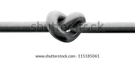 A metal pole twisted into a knotted shape that resembles a heart on an isolated background
