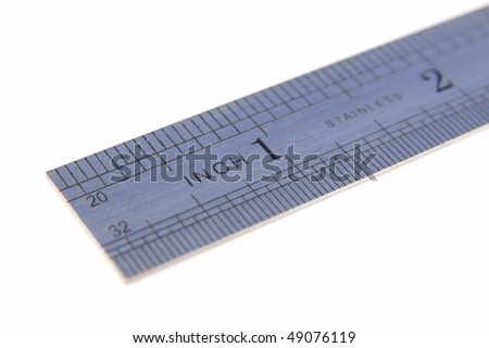 A metal rule showing the graduations - stock photo