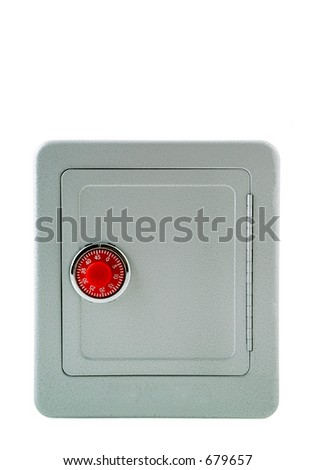 A metal safe. 14MP camera, isolated. - stock photo