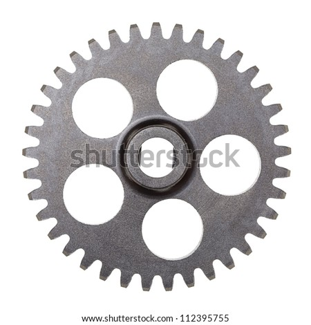 A metal transmission gear isolated on white. - stock photo