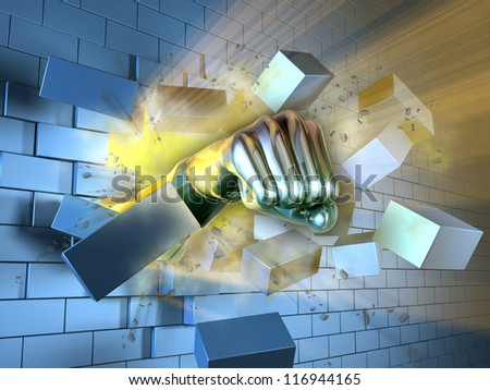 A metallic fist breaking through a brick wall. Digital illustration. - stock photo