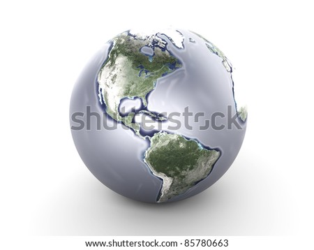 A metallic globe. 3D rendered Illustration.