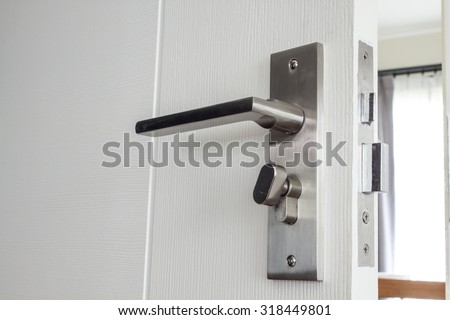 A metallic knob on white door horizontal
