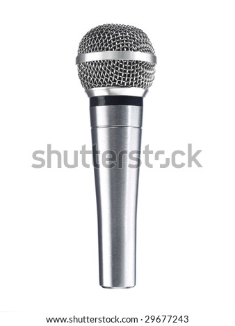 A metallic microphone isolated over a white background. - stock photo