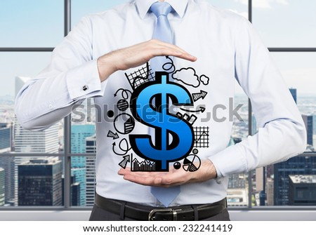A metaphor of private equity investments. A businessman is holding a dollar sign and different charts around it. Office view. - stock photo
