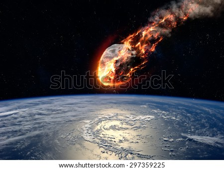 A Meteor glowing as it enters the Earth's atmosphere. Elements of this image furnished by NASA - stock photo