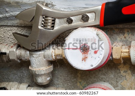 a meters for water in the bathroom - stock photo