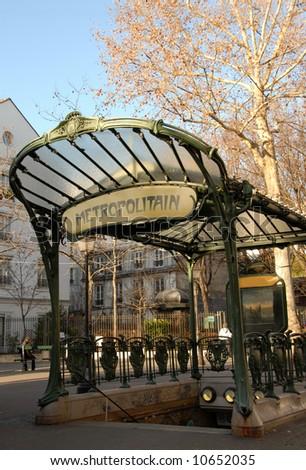 A Metro transportation entrance in Paris, France, near Montmartre - stock photo