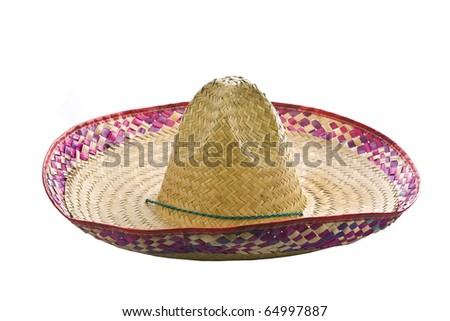 A mexican sombrero isolated on a white background - stock photo