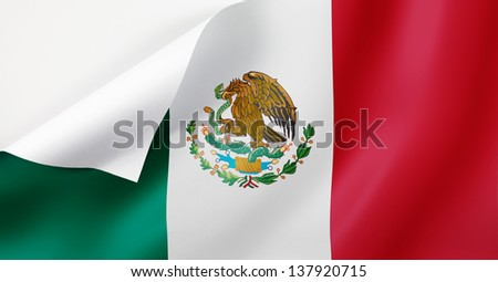 A Mexico flag with a curl at the corner with blank space for text.  - stock photo