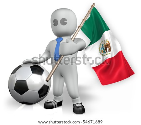 A Mexico football fan with a ball and a flag - stock photo