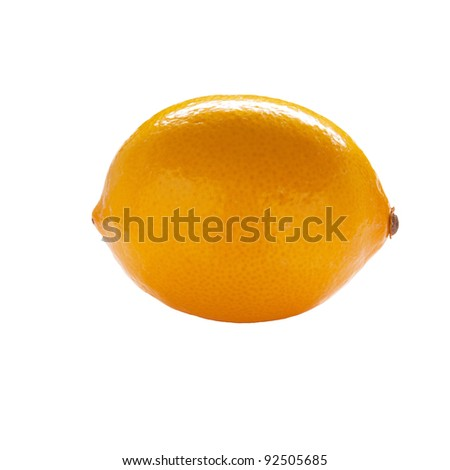 A Meyer Lemon isolated on a white background.