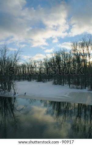 A Michigan Winter Day - stock photo