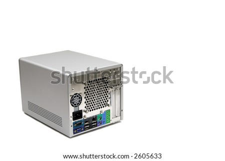 A micro-computer in the studio against a white background.