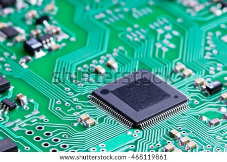 A microcontroller on an electronic board