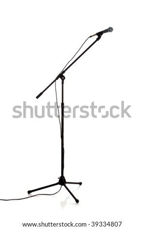 A microphone and stand on a white background - stock photo