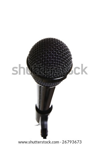 a microphone closeup on a white background