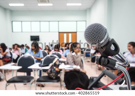 A microphone in a classroom