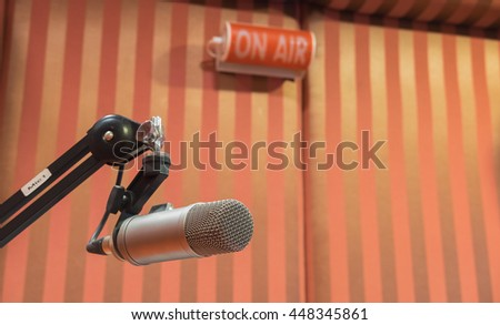 A microphone in radio studio , Focus on microphone