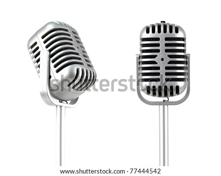 A microphone isolated against a white background