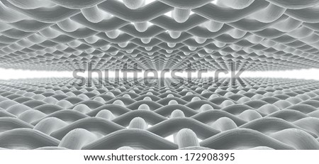 A microscopic macro close up perspective view of the middle of a simple woven fabric pattern and threads on an isolated white background - stock photo