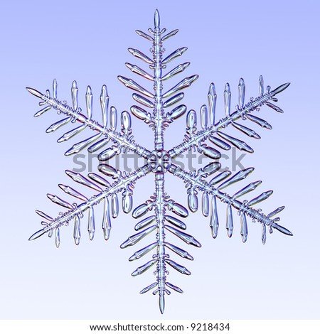 A microscopic zoom of a snowflake. A 3d Render instiped by snowflake photography. - stock photo