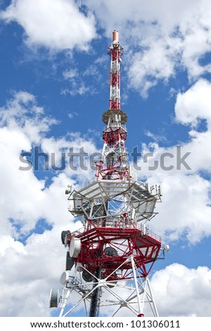 A microwave antenna tower used for telecommunications links.