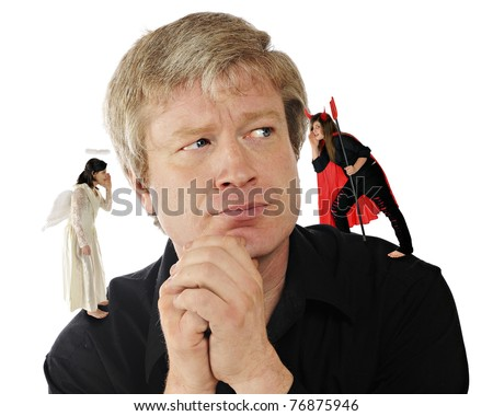 A mid-age man contemplating a decision while an angel-daughter whispers in one ear, and a devil-daughter whispers in the other. - stock photo