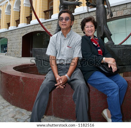 A middle-aged asian couple - stock photo