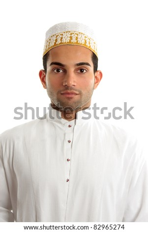 A middle eastern arab man wearing traditional ethnic cultural clothing. - stock photo