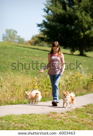 A middle school girl walking two Pomeranian puppies along a path.