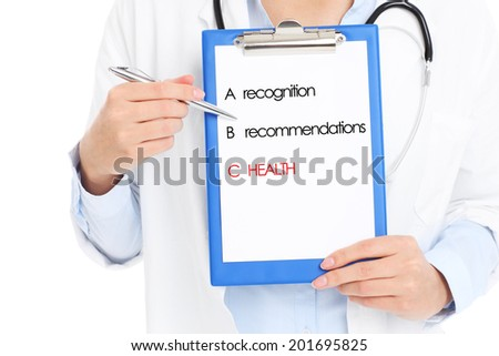 A midsection of a doctor holding files over white background