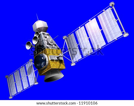 A military satellite is an artificial satellite used for a military purpose, often for gathering intelligence, as a communications satellite for military purposes, or as a military weapon. - stock photo