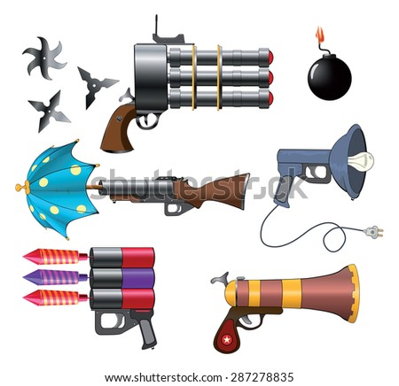 A military weapon set for a computer game - stock photo