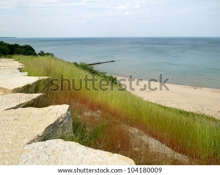 A Milwaukee landscape picture by Lake Michigan - stock photo
