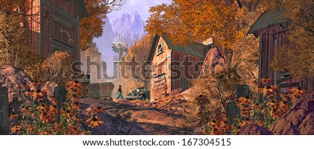 A miner looking over his old gold mining site in the Rocky Mountains. / Old Gold Mining Site In The Mountains - stock photo