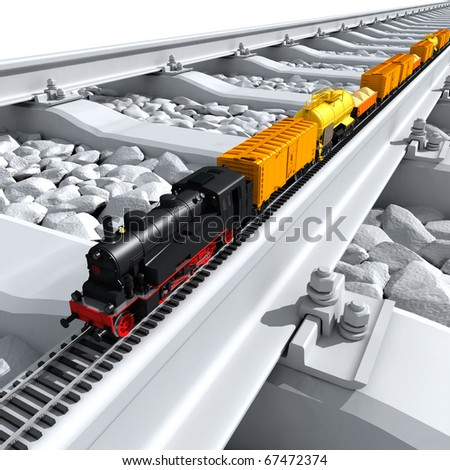 A miniature model of the train - a steam locomotive, railway wagons, tank, platform with sand - on a full-scale rail - stock photo