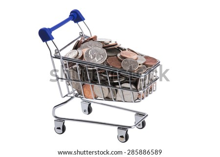 A miniature shopping cart filled with US coins isolated on a white background - stock photo