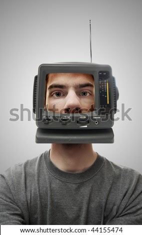 A miniature television screen on a person's head. This demonstrates what is on his mind, and perhaps brainwashing. - stock photo