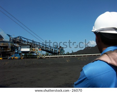 A mining worker at the coal mining field