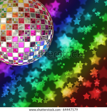 A mirror ball with a background of rainbow stars and a bokeh effect - stock photo