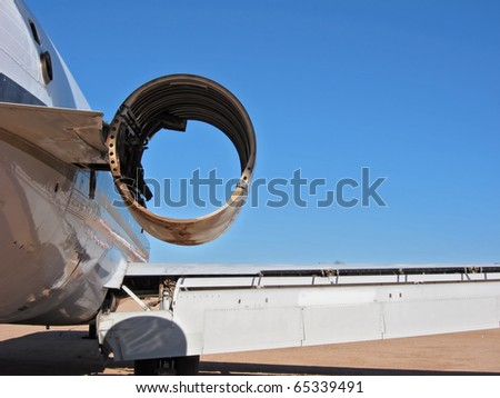 A missing aircraft engine shown from the rear - stock photo